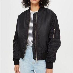 Topshop Black Bomber jacket with zip detail